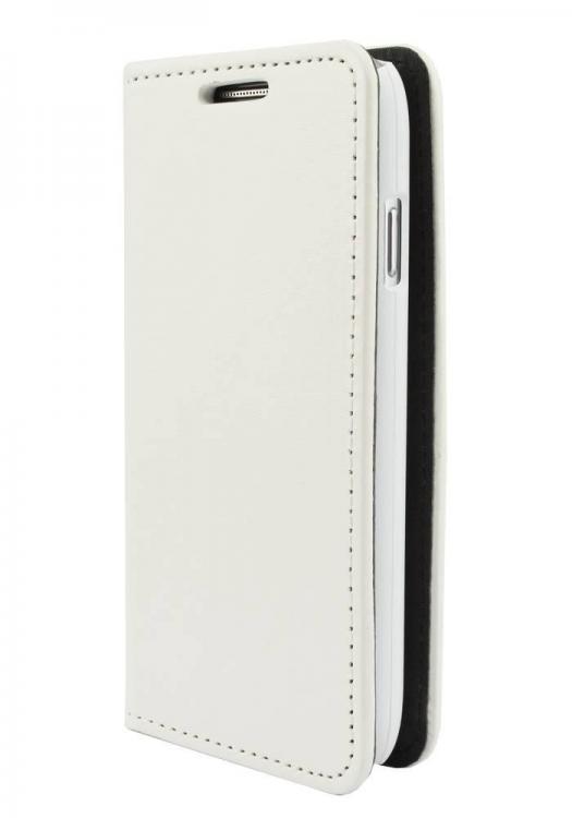 """WAVE \""""Book case\"""" kotelo. Täsmäistuva valkoinen kotelo Samsung Galaxy Trend S7560"""