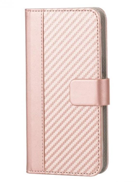 WAVE Book case kotelo, hiilikuitukuvio. Ruusukulta täsmäistuva kotelo Samsung Galaxy A5 2017