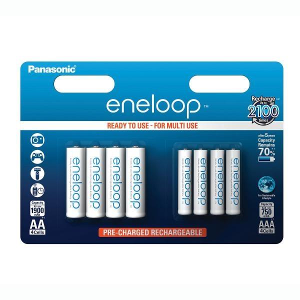 Panasonic Eneloop akku 8kpl/pkt. AA 1900mAh x4   AAA 750mAh x4