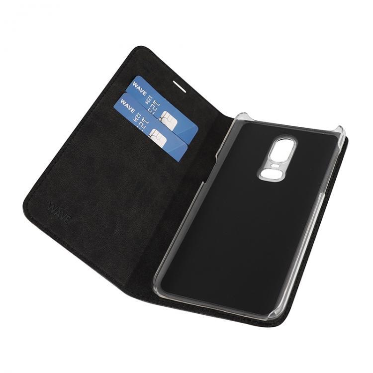 WAVE Book case kotelo RFID -suojauksella, musta, OnePlus 6