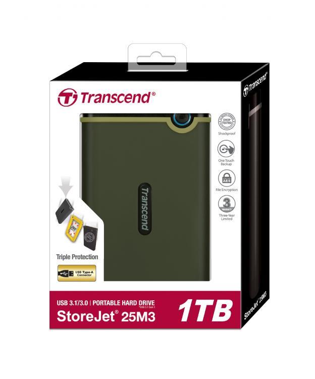 TRANSCEND 1Tt StoreJet 25M3G USB 3.1 kolhusuojattu ulkoinen kiintolevy