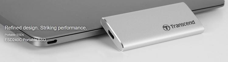 Transcend ESD240C Ulkoinen SSD kiintolevy, 480GB, hopea (USB Type-C)