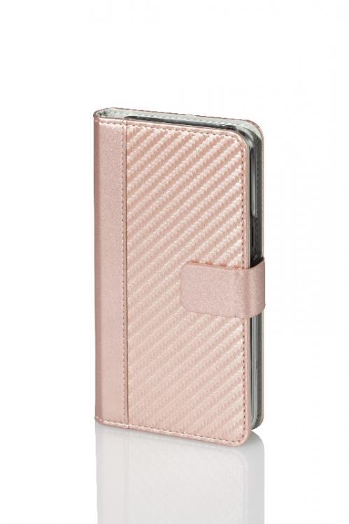 WAVE Book case kotelo, hiilikuitukuvio. Ruusukultainen täsmäistuva kotelo Samsung Galaxy S8 Plus