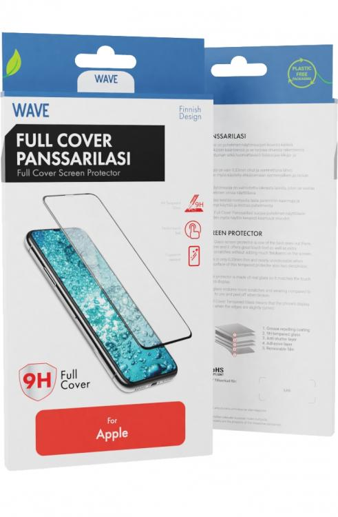 Wave Full Cover Panssarilasi, Apple iPhone 12 Pro / Apple iPhone 12, Musta Kehys