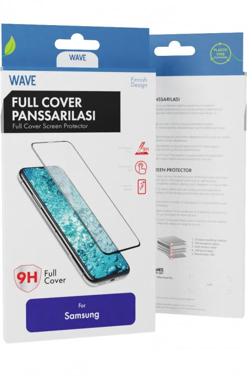 Wave Full Cover Panssarilasi, Samsung Galaxy A20s, Musta Kehys